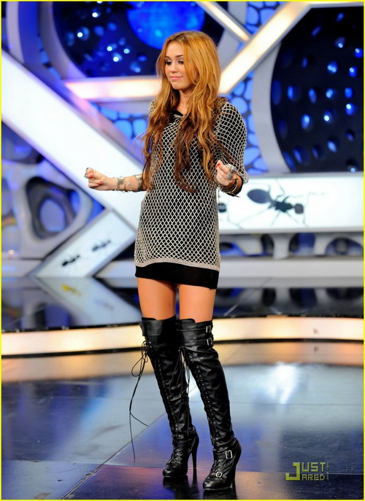 #5115314 Singer/Actress Miley Cyrus wore a short skirt and thigh high boots while appearing on the Spanish variety show 'El Hormiguero' on May 31 2010 in Madrid, Spain.   Restriction applies: USA ONLY   Fame Pictures, Inc - Santa Monica, CA, USA - +1 (310) 395-0500